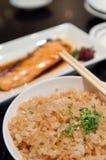 Alimento del giapponese del riso fritto dell'aglio Fotografia Stock Libera da Diritti