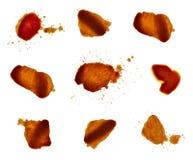 Alimento del ketchup del cioccolato del vino del caffè della macchia della macchia Fotografie Stock