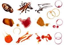 Alimento del ketchup del cioccolato del vino del caffè della macchia della macchia Fotografie Stock Libere da Diritti