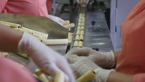 Alimento del pacchetto del lavoratore - biscotti nei contenitori, pacchetti Rivenditori e distribuzione della drogheria video d archivio