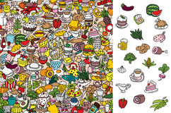 Alimento del ritrovamento, gioco visivo Soluzione nello strato nascosto! Immagine Stock