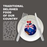 Alimento delicioso tradicional do cartaz do país de Nova Zelândia Sobremesa nacional Oceanian Bolo da ilustração do vetor com ban ilustração royalty free