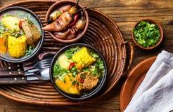 Alimento dell'America latina Cazuela cileno tradizionale della minestra della carne di maiale Cazuela Chilena Fotografia Stock Libera da Diritti