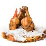 Alimento della carne con paprica isolata Fotografie Stock