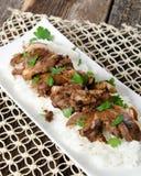 Alimento della cena del riso e della carne Fotografia Stock