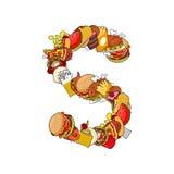 Alimento della lettera S Alfabeto commestibile del segno da pizza e dall'hamburger Immagini Stock