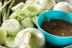Alimento della pasta del peperoncino rosso per tutti in Tailandia Fotografia Stock Libera da Diritti