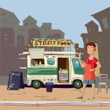Alimento della via, camion, alimenti a rapida preparazione, cuoco, città Fotografia Stock