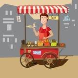Alimento della via, camion, venditore ambulante, stile del fumetto Fotografie Stock