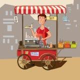 Alimento della via, carretto, macchina del caffè, alimenti a rapida preparazione, cuoco Fotografia Stock