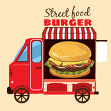 Alimento della via, furgone, minibus, pasti sulle ruote Fotografia Stock Libera da Diritti