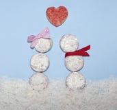 Alimento denominado como bonecos de neve do Valentim no amor Foto de Stock Royalty Free