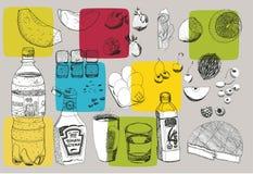 Alimento desenhado mão Foto de Stock Royalty Free