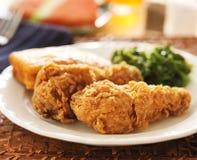 Alimento di anima - pollo fritto con i verdi del cavolo riccio Fotografia Stock Libera da Diritti