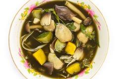 Alimento di Esan, curry del fungo su fondo bianco Fotografie Stock