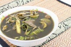 Alimento di Esan, curry del fungo sulla stuoia Fotografie Stock