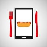 Alimento di hot dog di ordine di Smartphone online illustrazione di stock