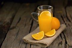 Alimento di Juice Orange Vitamin C e bevanda arancio ea sano nutriente Fotografia Stock Libera da Diritti