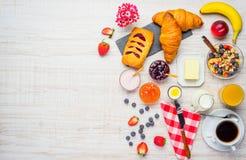 Alimento di prima colazione con lo spazio della copia Fotografia Stock Libera da Diritti