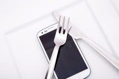 Alimento di Smartphone Fotografie Stock Libere da Diritti