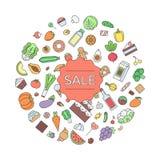 Alimento di vendita ed illustrazione del profilo del cerchio della bevanda Fotografie Stock Libere da Diritti