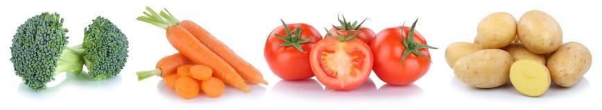 Alimento di verdure delle patate dei pomodori delle carote delle verdure isolato dentro Immagine Stock