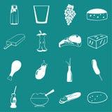 Alimento di vettore, verdura ed icona delle bevande messa sul fondo piano di colore di UI Fotografie Stock