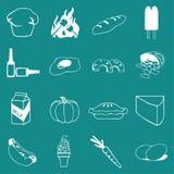 Alimento di vettore, verdura ed icona delle bevande messa sul fondo piano di colore di UI Immagine Stock Libera da Diritti