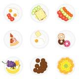 Alimento diferente em placas Hora para o almoço Grupos de alimento em placas ilustração royalty free