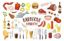 Alimento do BBQ e coleção das bebidas ilustração stock