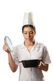 Alimento do cheiro do cozinheiro chefe Foto de Stock Royalty Free