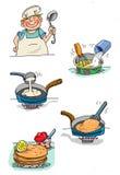 Alimento do cozinheiro Imagens de Stock Royalty Free