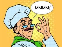Alimento do cozinheiro do gosto que cozinha as emoções do cheiro profissionais Imagem de Stock Royalty Free