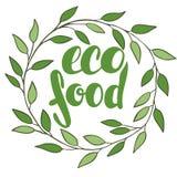 Alimento do eco do logotipo com folhas Crachá do alimento biológico no vetor (cosmeti Fotos de Stock