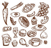 Alimento do esboço Foto de Stock