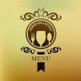 Alimento do menu da etiqueta do vintage e tampa da bebida Imagem de Stock Royalty Free