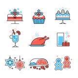 Alimento do Natal e coleção das bebidas Imagem de Stock Royalty Free