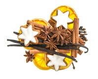 Alimento do Natal e especiarias das cookies Ingredientes Mulled do vinho Imagens de Stock