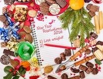 Alimento do Natal, festa e definição do ano novo fazer dieta 2016 Imagem de Stock