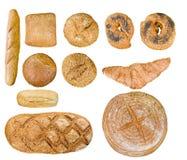 Alimento do pão ajustado sobre o branco Foto de Stock Royalty Free