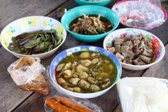 Alimento do país, alimentos tailandeses no campo, alimento do estilo fácil do país tailandês, culinária local Ásia tailandesa dos imagens de stock royalty free