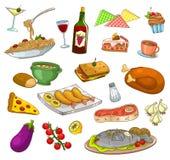 Alimento do restaurante ilustração stock