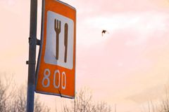 Alimento do sinal de estrada contra o céu e os pássaros fotos de stock royalty free