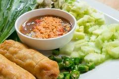 Alimento do Tailandês-vietnamita de Nam-Nuang fotos de stock