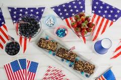 Alimento dolce decorato con il tema del 4 luglio Fotografie Stock