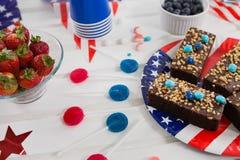 Alimento dolce decorato con il tema del 4 luglio Fotografie Stock Libere da Diritti