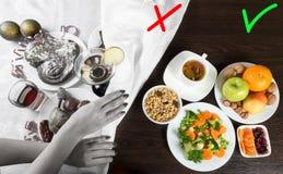 Alimento e álcool saudáveis e insalubres Dieta após feriados Fotografia de Stock Royalty Free