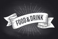 Alimento e bebida Bandeira da fita do vintage da velha escola ilustração do vetor