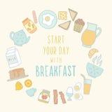 Alimento e bebida de café da manhã Imagens de Stock