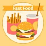 Alimento e bebida Hamburguer, fritadas liso Imagens de Stock Royalty Free